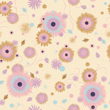Flower seamless pattern. Seamless pattern from autumn leaves and flowers Stock Photos