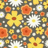 Flower seamless pattern. Abstract  floral background. Chamomile. Yellow and orange flowers. Floral seamless pattern. Flower pattern. Abstract  floral background Royalty Free Stock Photo