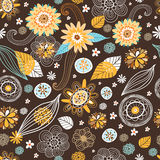 Flower seamless pattern with autumn colors Royalty Free Stock Images