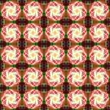 Flower seamless pattern background. Abstract glowing flower seamless pattern background with fireworks tones Stock Images