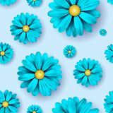 Flower seamless pattern background with realistic blue floral elements. Stock Image