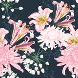 Flower seamless pattern with beautiful pink lily and chrysanthemum flowers on vintage dark blue background template. Set of blooming floral for wedding royalty free illustration