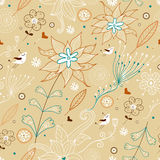 Flower seamless pattern with birds Royalty Free Stock Images
