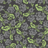 Flower seamless pattern. Black roses ornament. Vector background Royalty Free Stock Photos