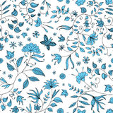 Flower Seamless Pattern Blue Vector Royalty Free Stock Photos