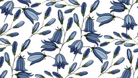 Flower seamless pattern with bluebells. Patterns can be used as background, fabric print, surface texture, wrapping paper, web page backdrop, wallpaper. Vector Royalty Free Stock Photo