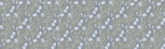 Flower seamless pattern with bluebells. Vector illustration Stock Photography