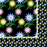Flower seamless Pattern with colorful flowers on black. Royalty Free Stock Photos