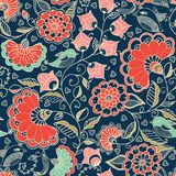 Flower seamless pattern with cute elements in red and black colors. Stock Photos