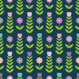 Flower seamless pattern on the dark background. Stock Image