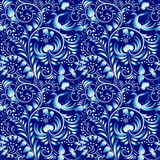 Flower seamless pattern with elements of folk gzhel style or Chinese porcelain painting. Dark blue background. Stock Photography