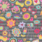 Flower seamless pattern with fashionable things. Royalty Free Stock Images