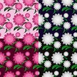 Flower seamless pattern in four variants vector illustration