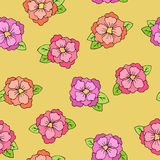 Flower seamless pattern graphic art yellow pink red green orange color illustration Royalty Free Stock Image