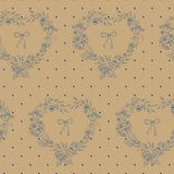 Flower seamless pattern with hearts from flowers and circles. Stock Photo