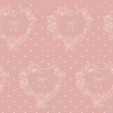 Flower seamless pattern with hearts from flowers and circles. royalty free illustration