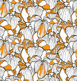 Flower seamless pattern with irises. Patterns can be used as background, fabric print, surface texture, wrapping paper, web page backdrop, wallpaper. Vector Royalty Free Stock Image