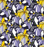 Flower seamless pattern with irises. Patterns can be used as background, fabric print, surface texture, wrapping paper, web page backdrop, wallpaper. Vector Royalty Free Stock Photo