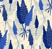 Flower seamless pattern with lupines. Vector illustration Stock Photography