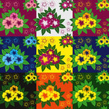 Flower seamless pattern - nine variants. Royalty Free Stock Images