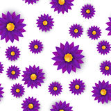 Flower seamless pattern, paper cut, on white background Royalty Free Stock Photo