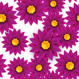 Flower seamless pattern, paper cut, on white background Stock Photography