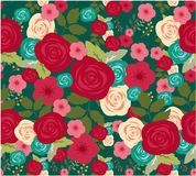 Flower of seamless pattern with red roses background Stock Photography