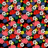 Flower seamless pattern 70s fashion style. Hand drawn illustration Royalty Free Stock Images