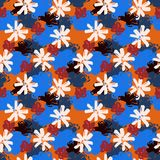 Flower seamless pattern 70s fashion style. Hand drawn illustration Royalty Free Stock Photos