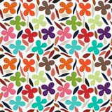 Flower seamless pattern 70s fashion style. Hand drawn illustration Stock Photo