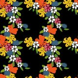 Flower seamless pattern 70s fashion style. Hand drawn illustration Royalty Free Stock Photo