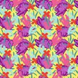 Flower seamless pattern 70s fashion style. Hand drawn illustration Royalty Free Stock Photography