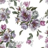 Flower seamless pattern with watercolor peonies, white roses and tulips Stock Photo
