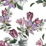 Flower seamless pattern with watercolor tulips and jasmine Stock Photo