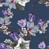 Flower seamless pattern with watercolor tulips and jasmine Stock Image