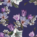 Flower seamless pattern with watercolor tulips and jasmine Stock Photos