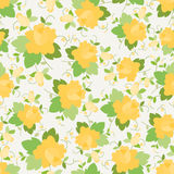 Flower seamless pattern. Yellow  Roses ornament. Royalty Free Stock Photos