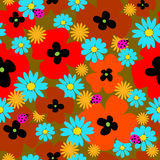 Flower seamless template with poppies and ladybirds Royalty Free Stock Image