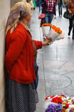 Flower seller. Senior woman selling colorful flowers in Zagreb Stock Photography