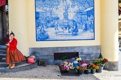 Flower seller in Funchal - Maderia royalty free stock photo
