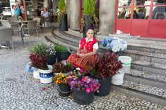 Flower Seller outside the Mercado dos Lavradores Workers Market, Funchal, Madeira,. Portugal royalty free stock images