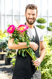 Flower seller in the shop Royalty Free Stock Photo