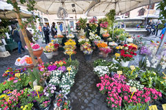 The Flower Sellers at Campo dei Fiori Royalty Free Stock Images