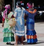 Flower Sellers In Havana Cuba. Colourfully dressed flower sellers in Havana Cuba stock images