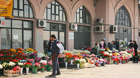 Flower Sellers In Istanbul Stock Photo