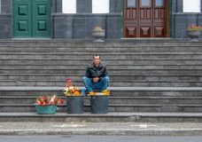 Flower selling in Azores stock image