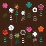Flower Set. Illustration of a colorful flower collection Royalty Free Stock Photos