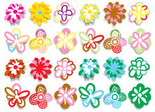 Flower set. Floral pattern design, childish wallpaper Stock Photo