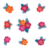 Flower set. Floal bouquet collection over white background. Stock Images