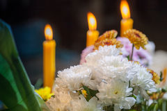 Flower set praying for god. When people wish something special for them life. they always worship god to give them wish. they offerings include of candle,incense Stock Images